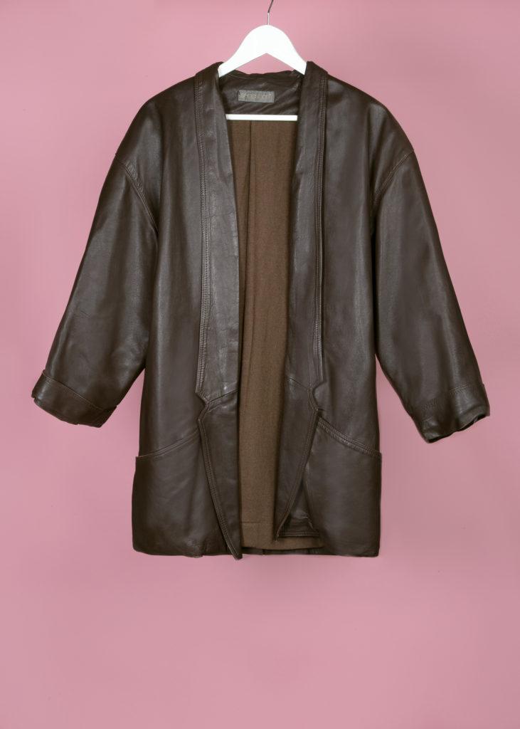 veste mi-longue marron en cuir