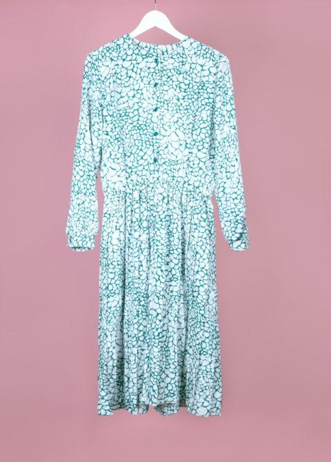 robe verte à imprimés blancs