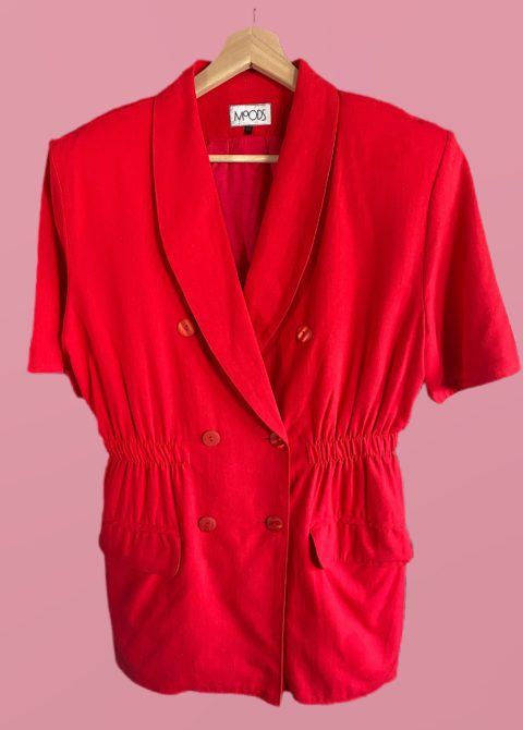 blazer rouge manches courtes